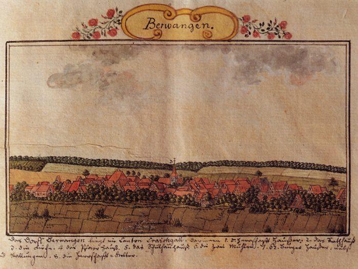 Das Dorf Berwangen im Kraichgau; 1769