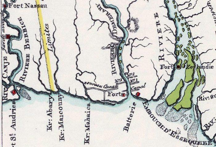 Die Küste von Guyana zwischen Essequibo und Berbice River (die Karte ist nach Süden ausgerichtet); 1798